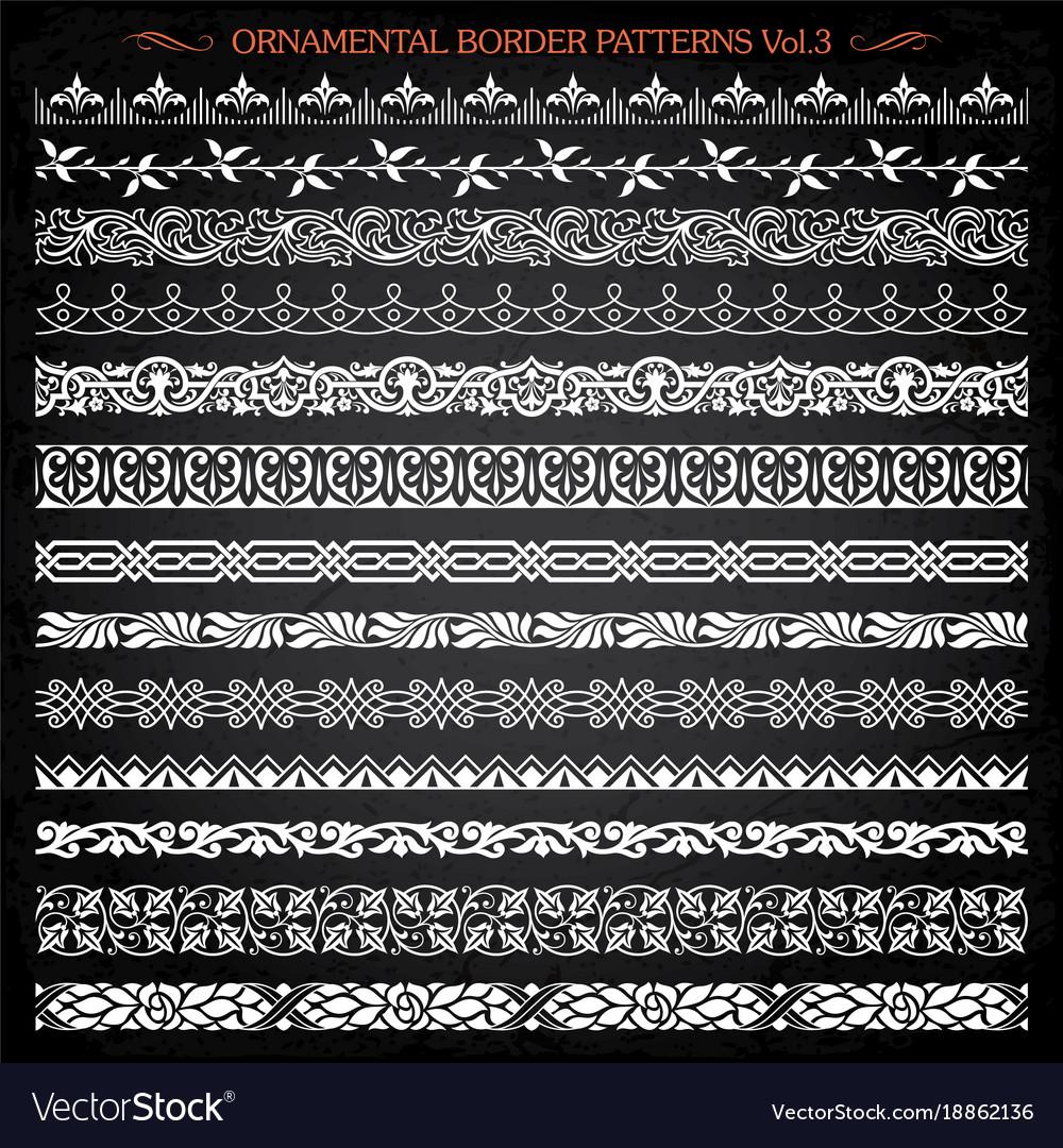 Ornamental border frame line vintage patterns 3