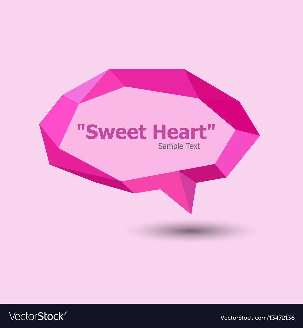 Pink polygonal geometric speech bubble vector image