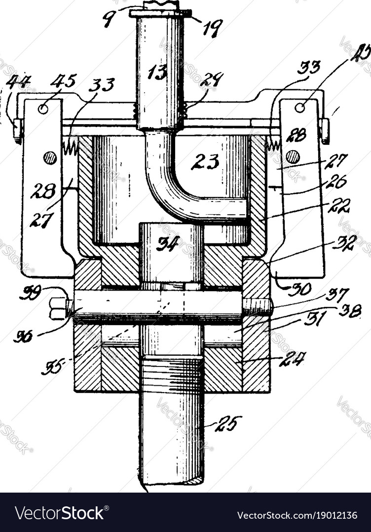 Pipe Fitting Threading Machine Vintage Royalty Free Vector Piping Schematic Drawing Image