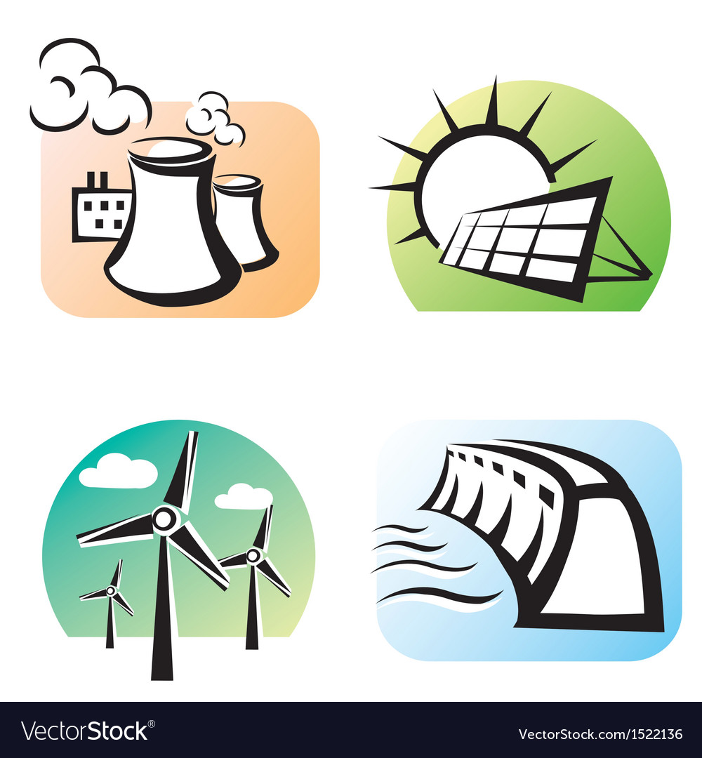 Power plants set icons