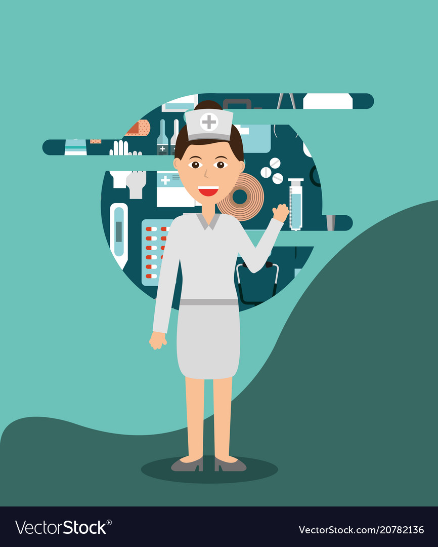 Professional nurse medical hospital work vector image