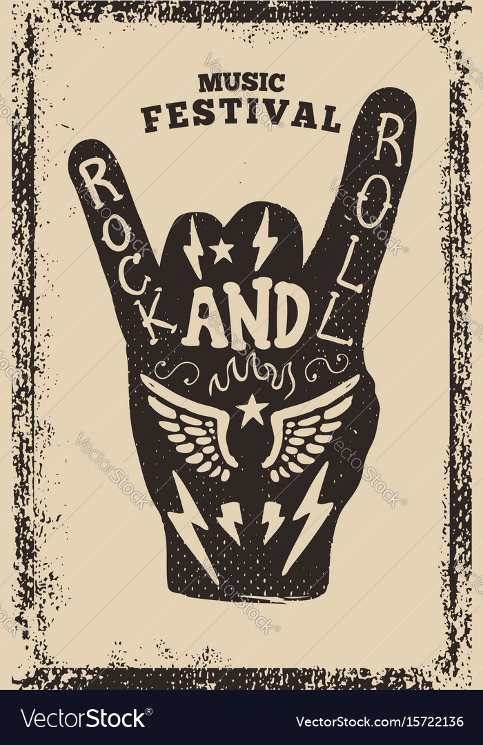 Rock and roll party poster template rock and roll