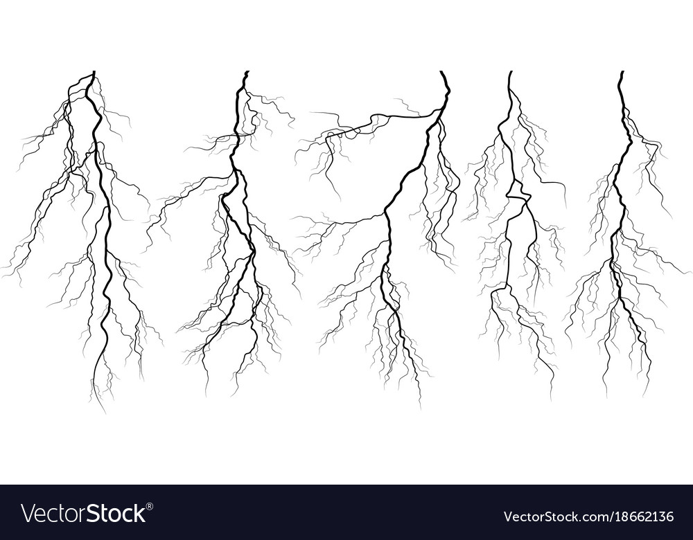 set of silhouettes of thunderstorm lightning vector image vectorstock