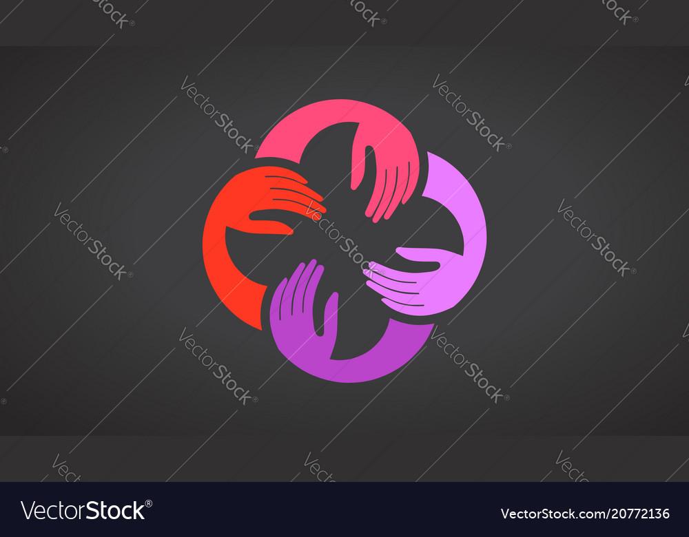 Teamwork hands logo template black vector image