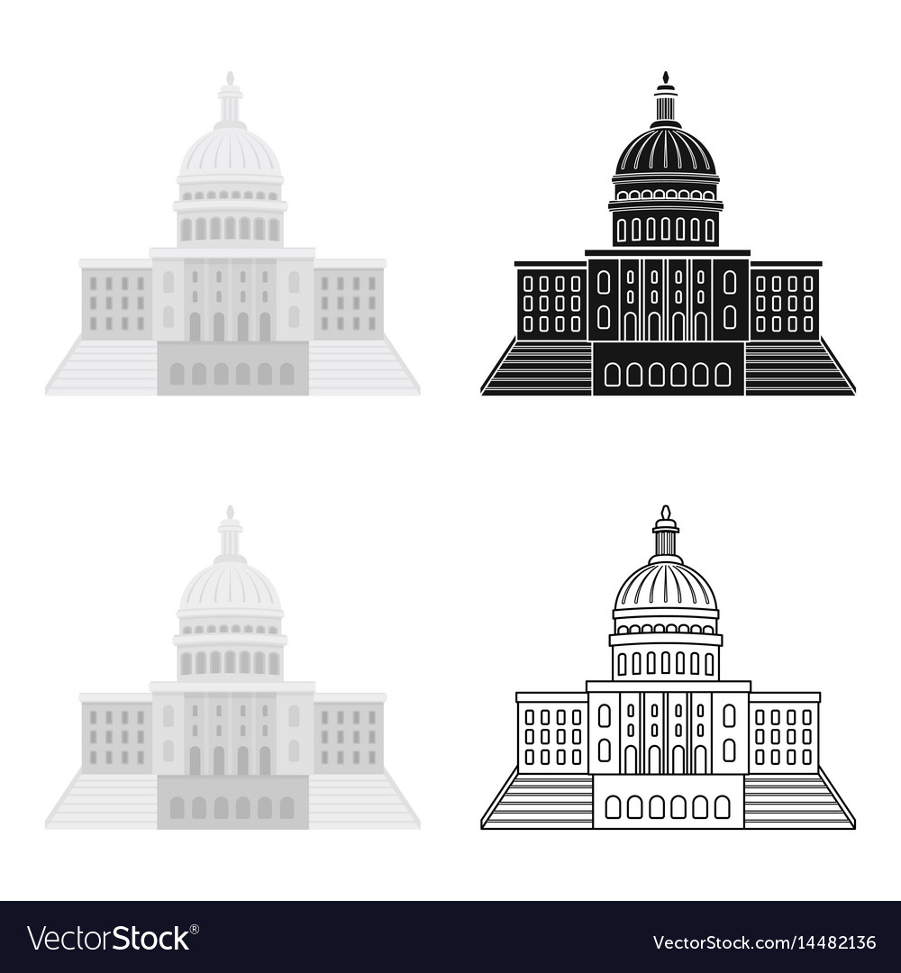 United states capitol icon in cartoon style