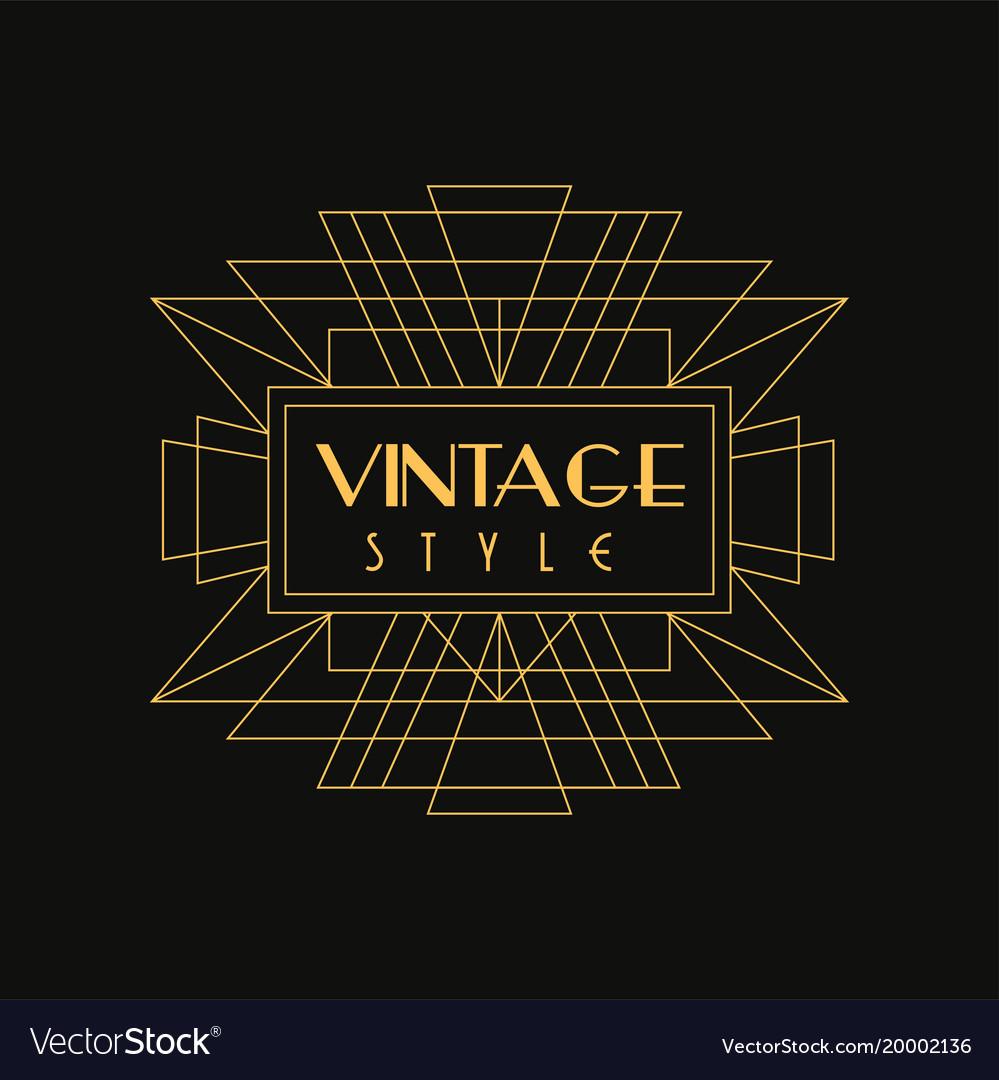Vintage style logo art deco design element in