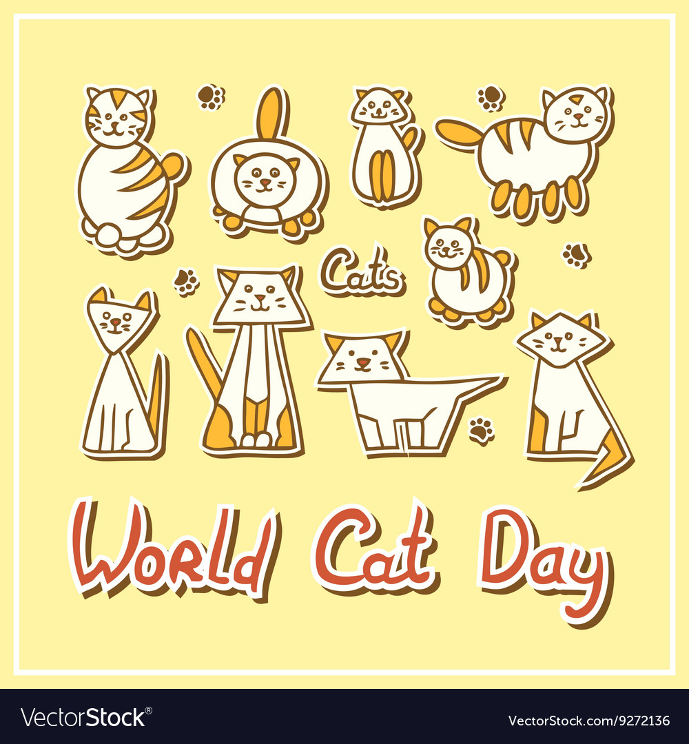 World Cat Day Card with cats on textured