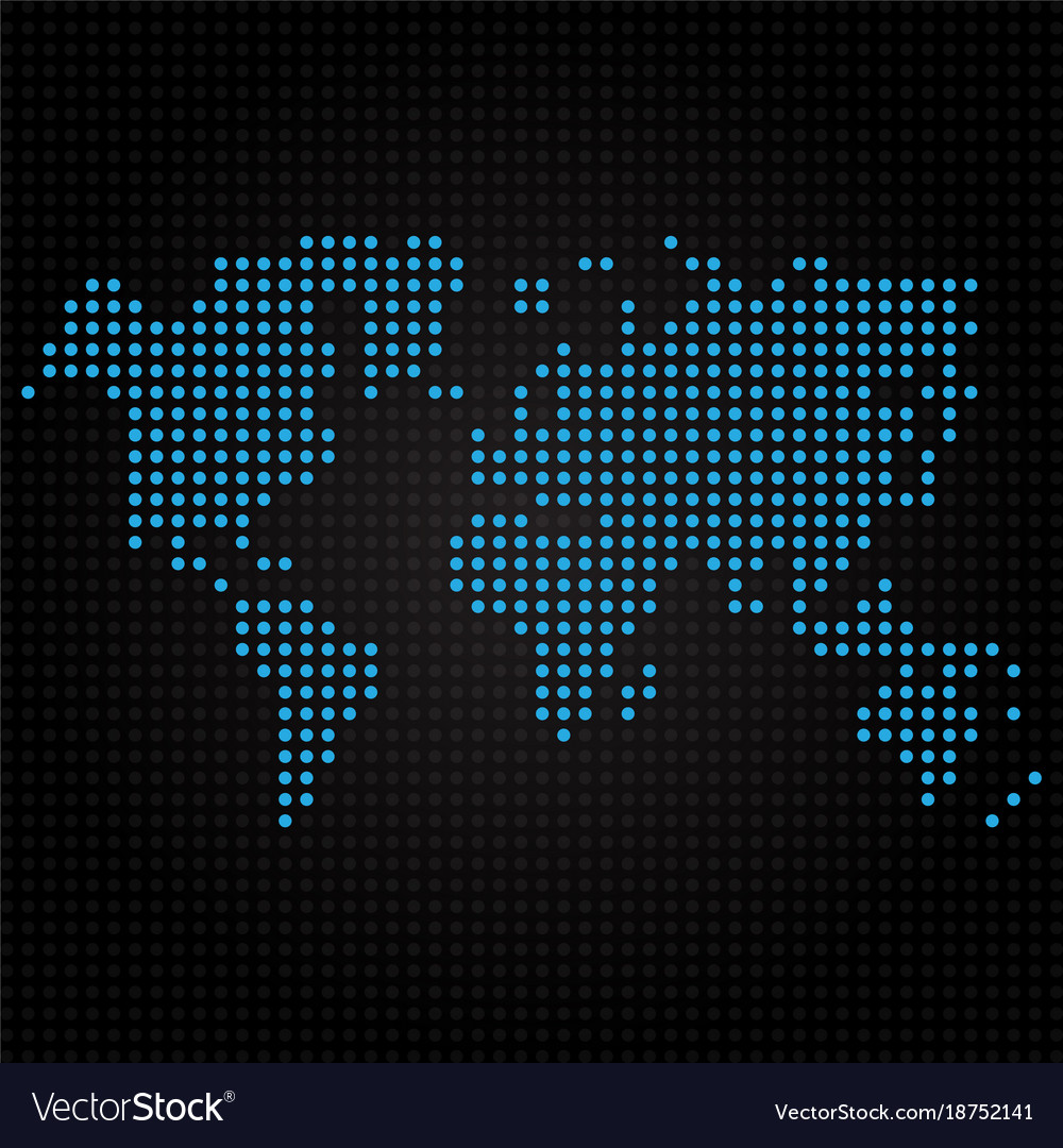 Blue dotted world map on black background vector image gumiabroncs Choice Image