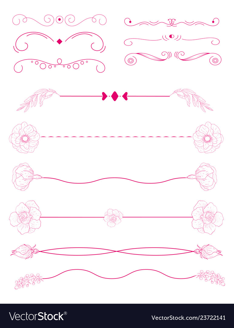 Collection of handdrawn bordersunique swirls and