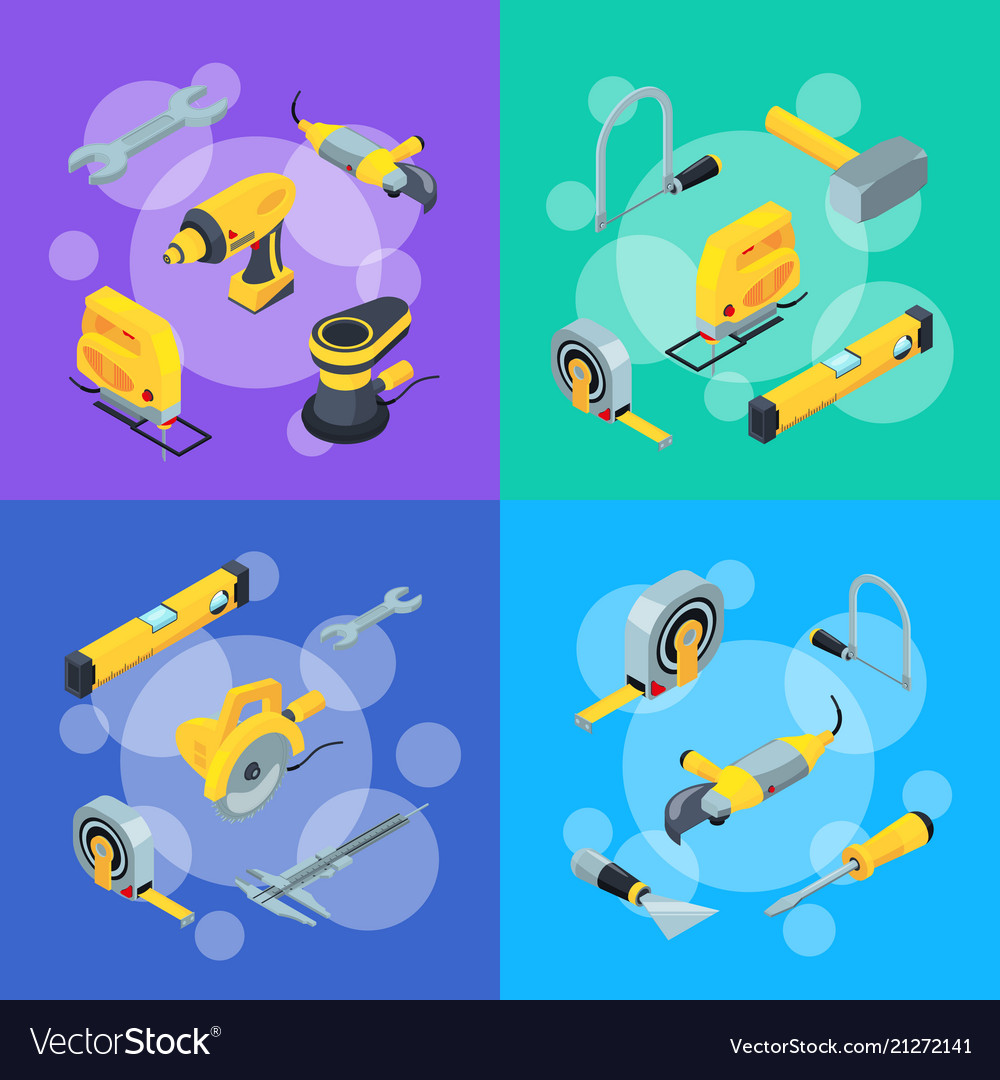 Construction tools isometric icons concept
