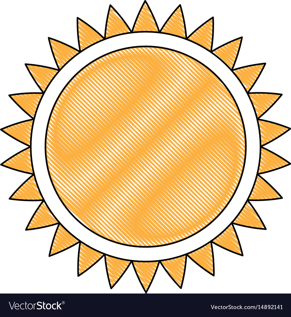 Drawing sun solar energy environmental renewable vector image
