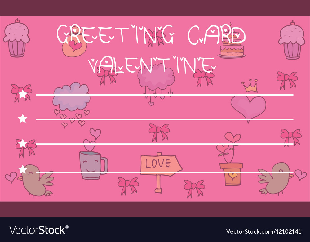 Greeting card valentine on pink backgrounds vector image m4hsunfo