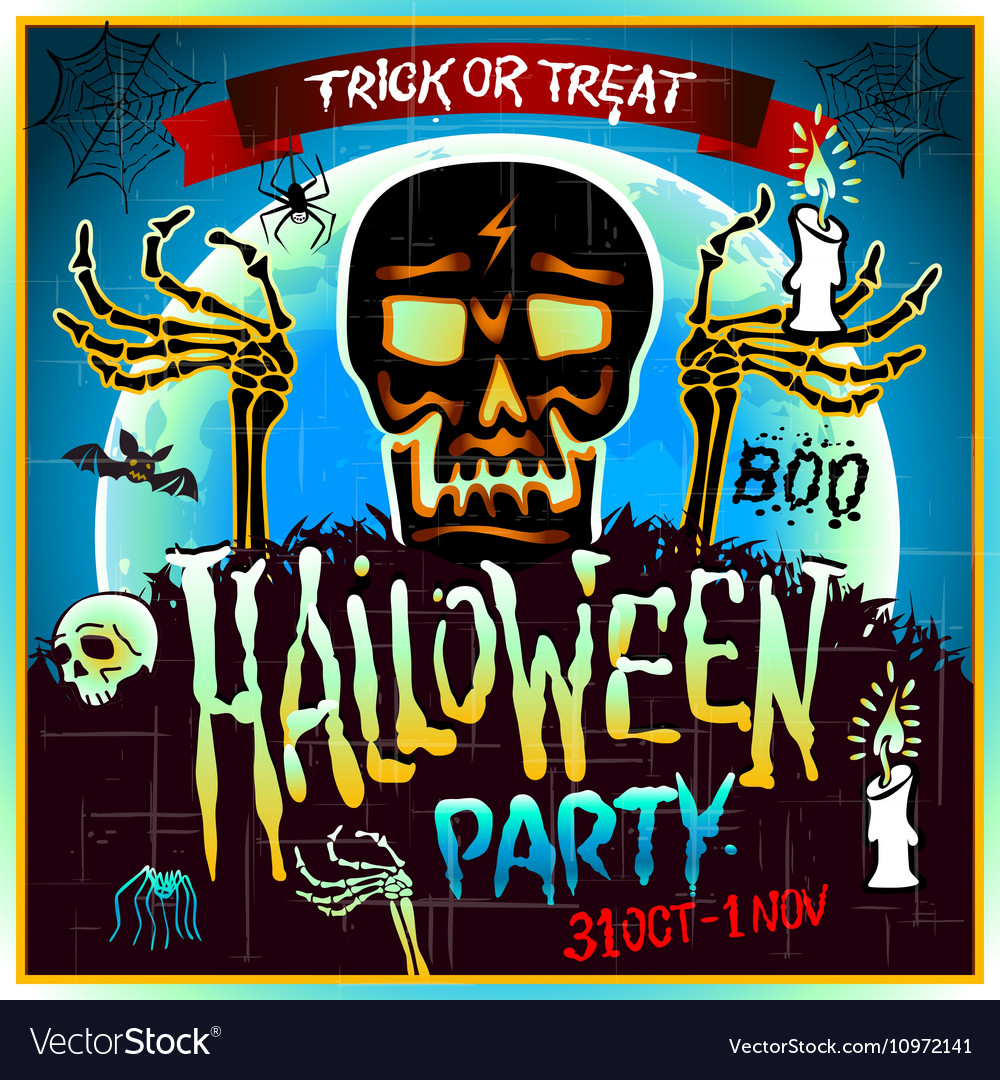 Halloween Party Design template with skull zombie
