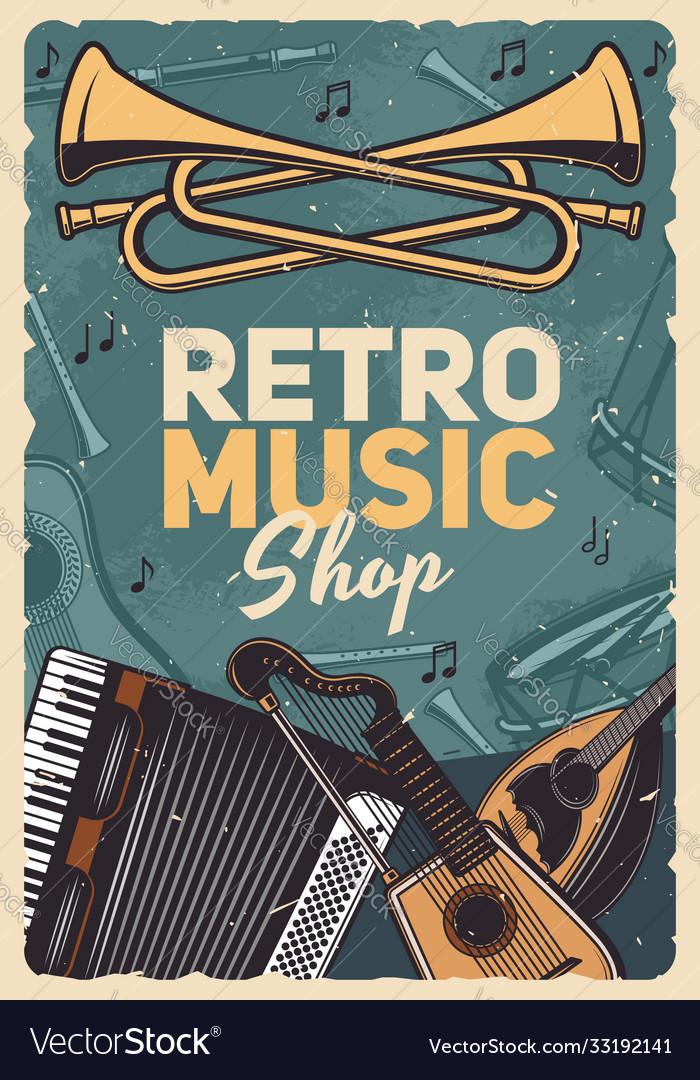 Music retro instruments shop vintage poster