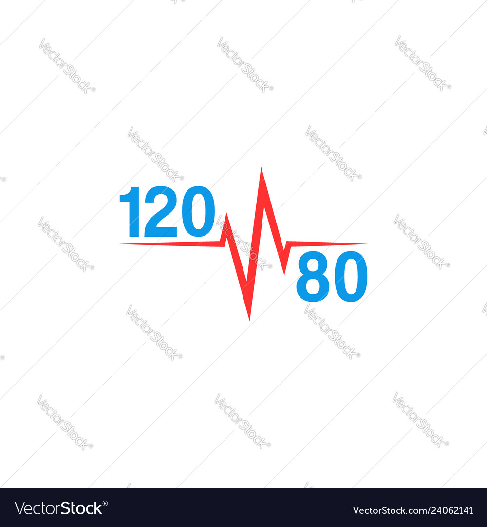 Normal blood pressure 120 to 80 logo and pulse