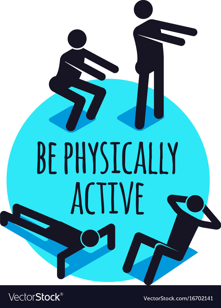 Physically active icons sporty people sign set vector image