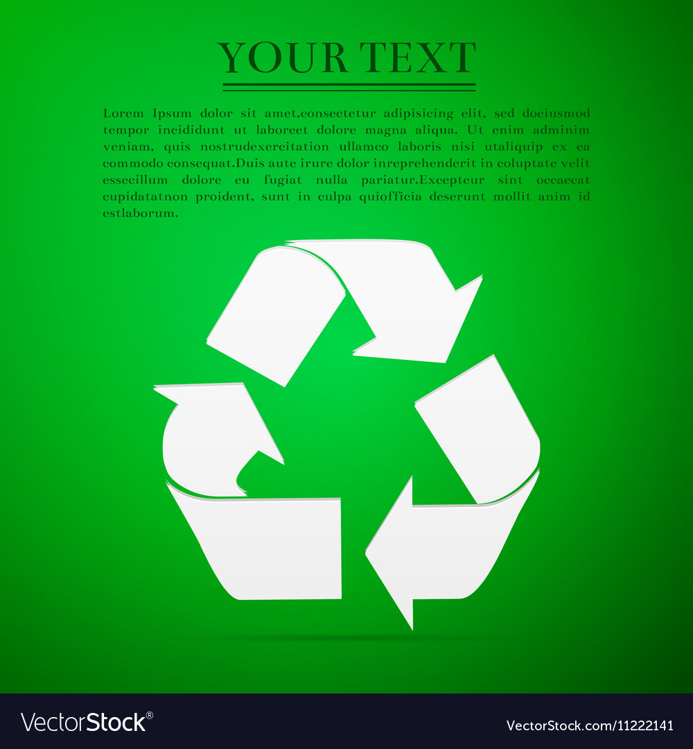 Recycle symbol flat icon on green background