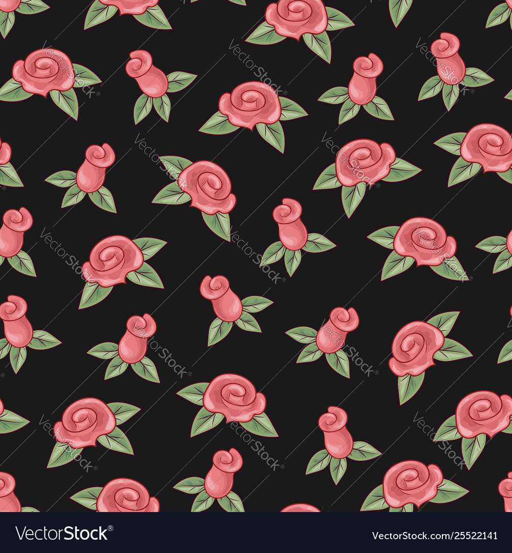 Roses seamless pattern on black background hand