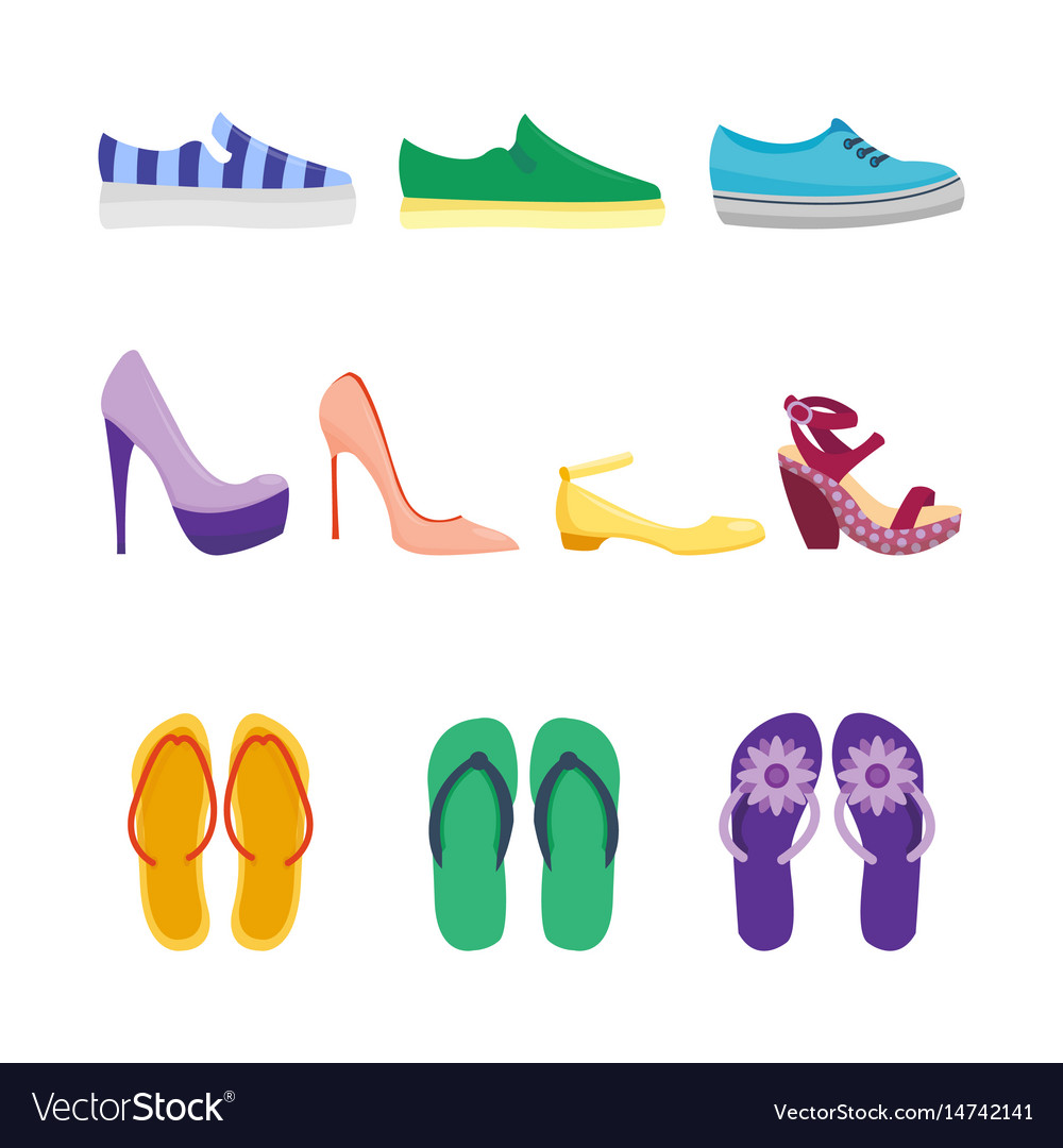 Set of womens shoes flat design collection