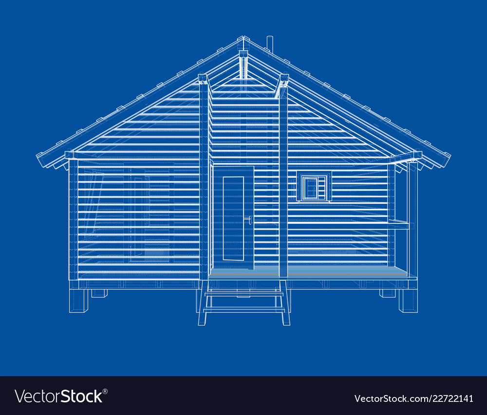 Sketch of small house rendering of 3d