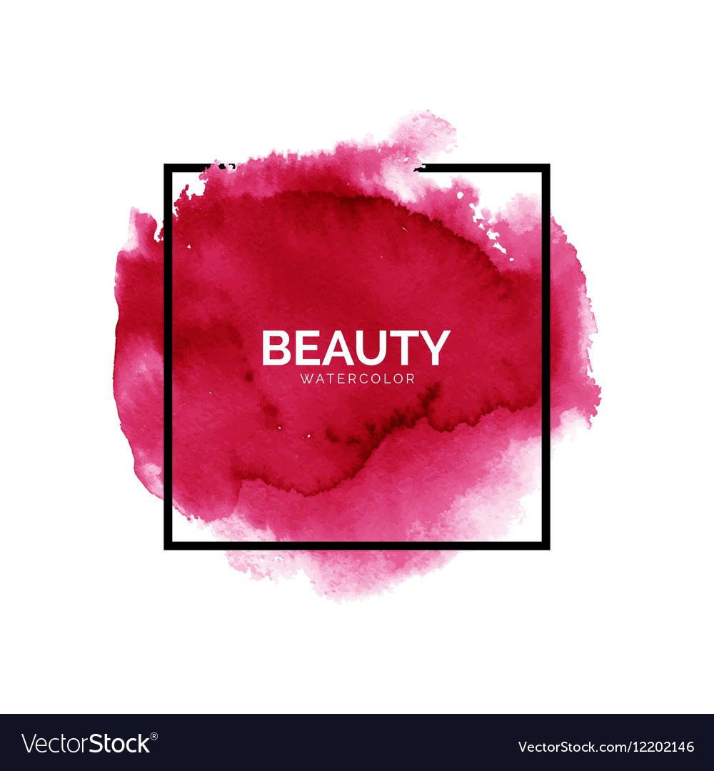 Abstract watercolor red spot with square frame Vector Image