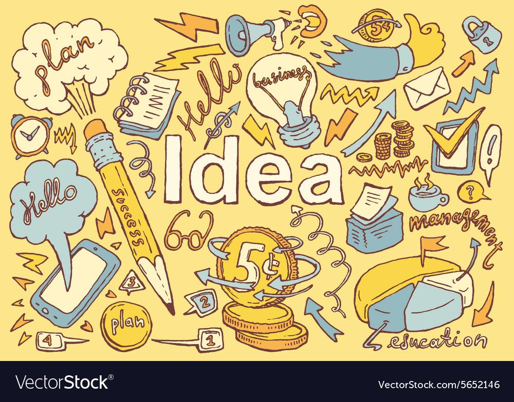Business Idea doodles icon set sketch drawn