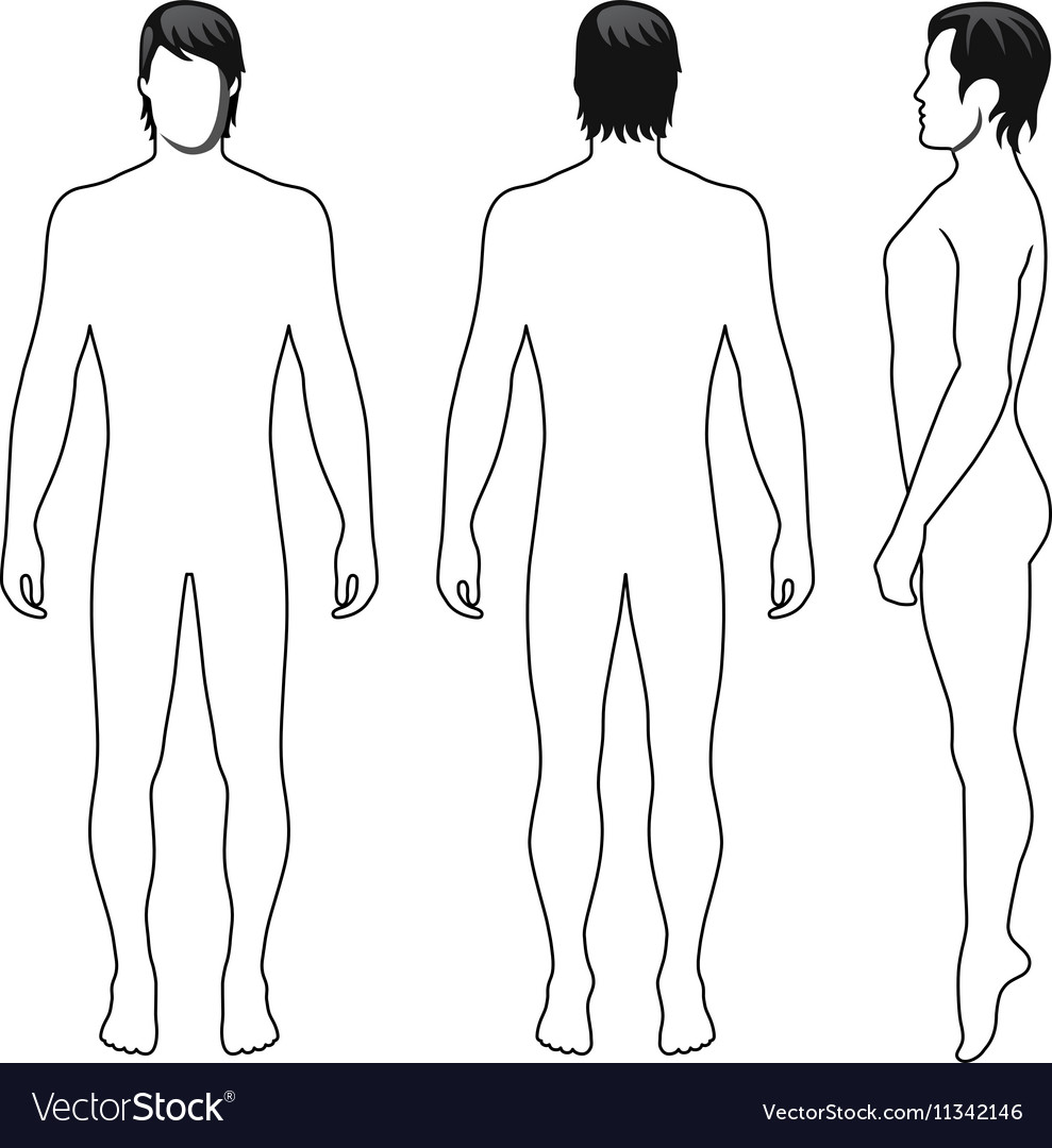 Fashion man full length outlined template figure
