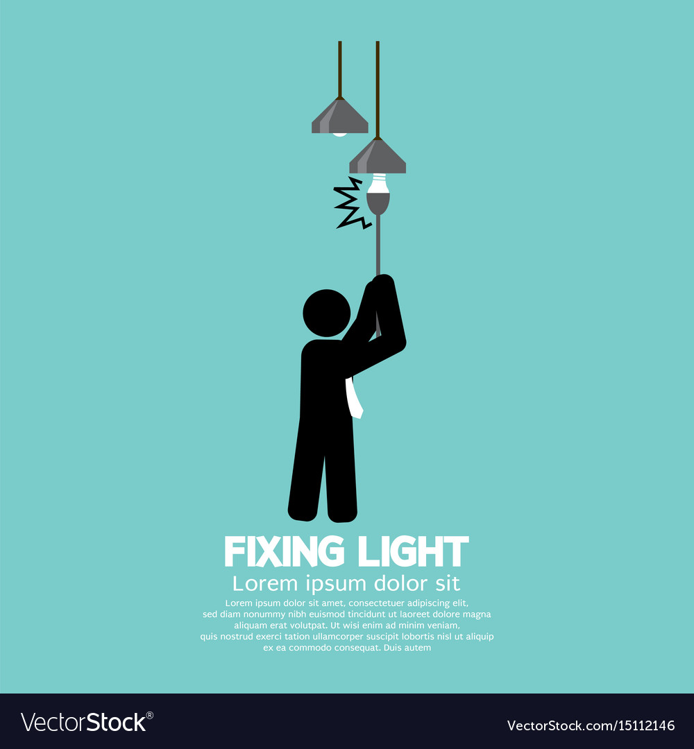 Fixing light black symbol vector image