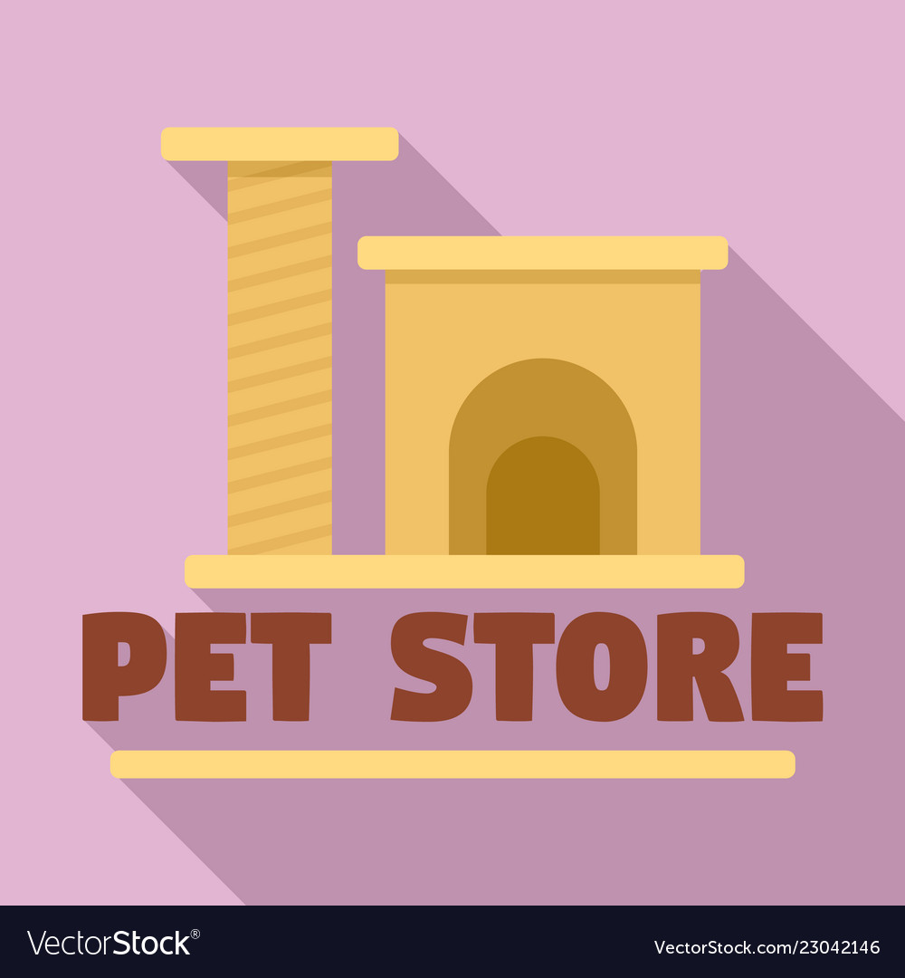 Pet Store Cat Toys Logo Flat Style Royalty Free Vector Image