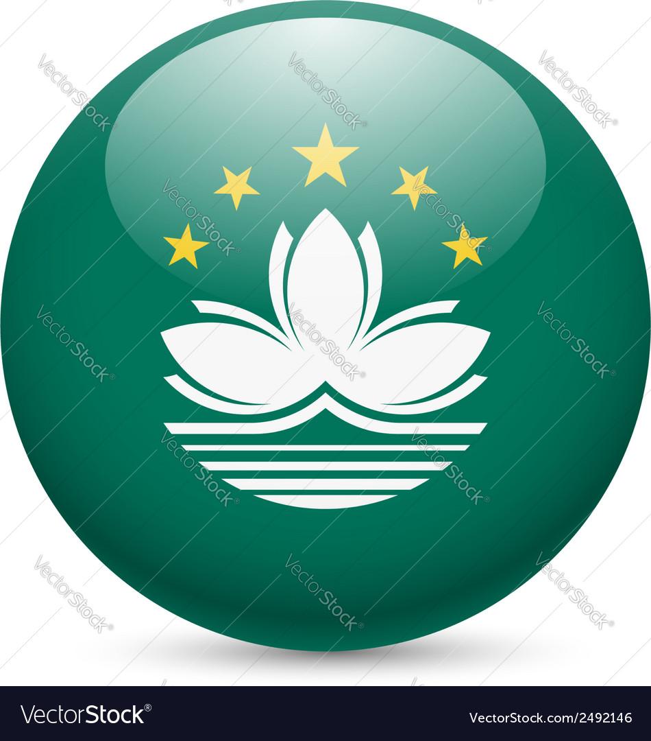 Round glossy icon of Macau vector image