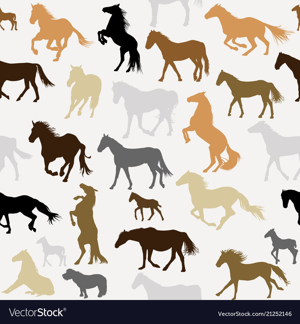 Seamless background with horse silhouettes