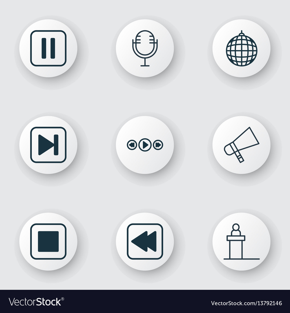 Set of 9 multimedia icons includes mike dance vector image