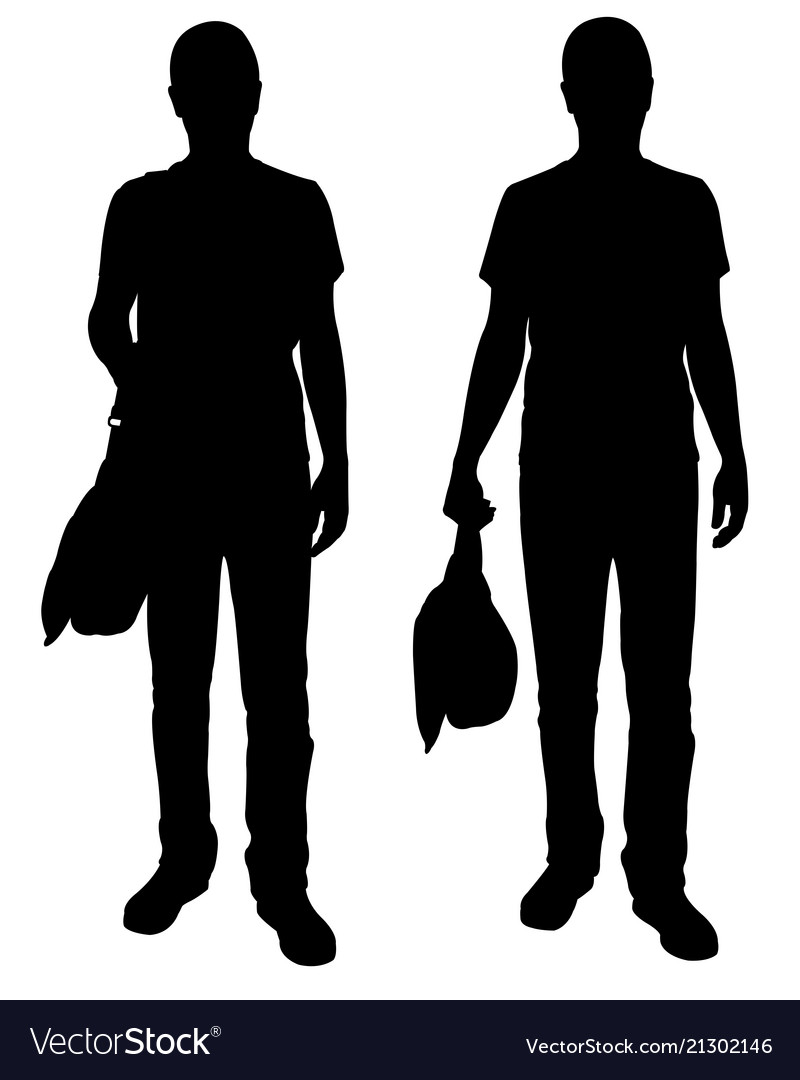 Silhouettes of men with bags