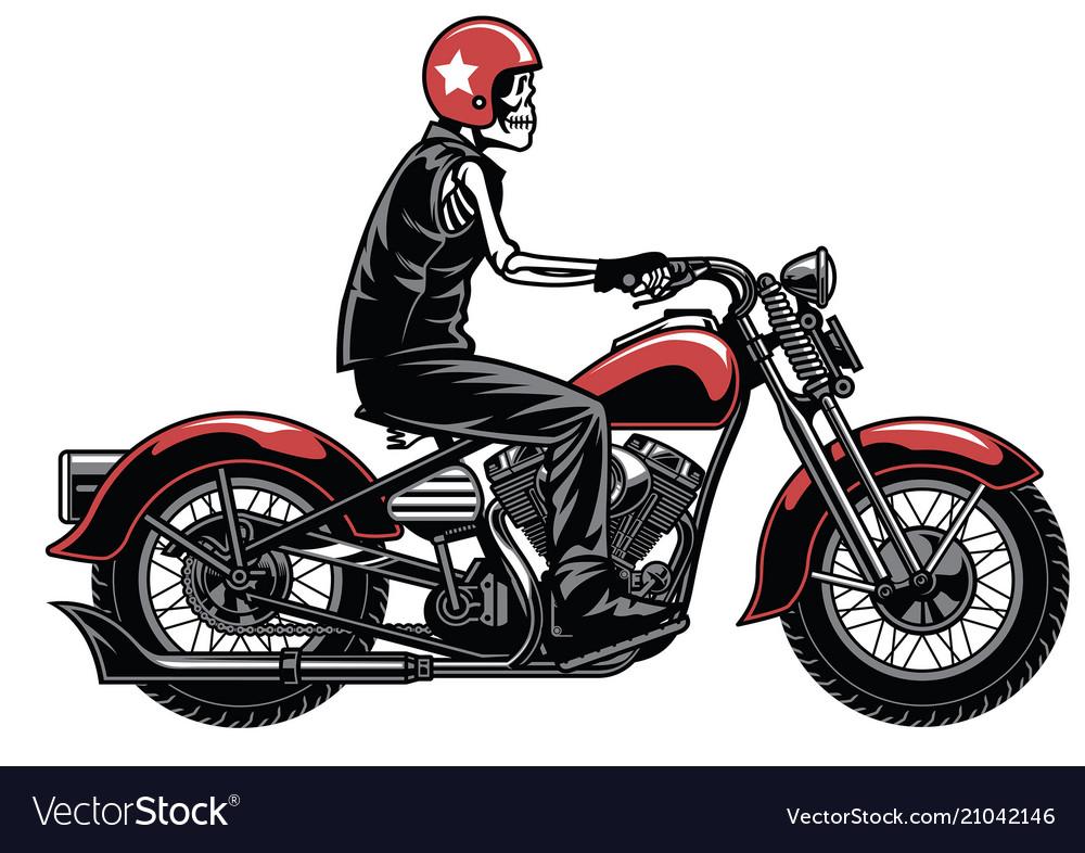 Skull riding vintage motorcylcle