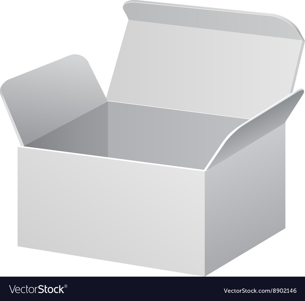 White Cardboard Carton Package Box Open On White vector image