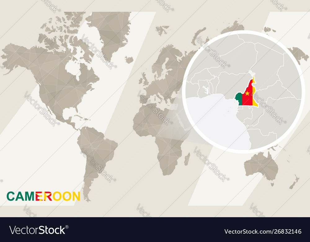 Zoom on cameroon map and flag world map