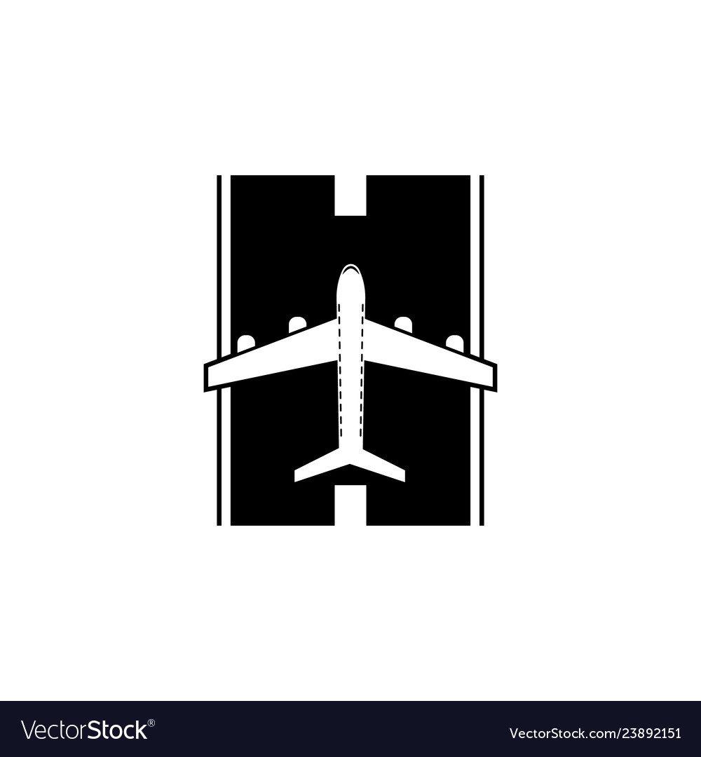 Airplane on the landing site icon element of
