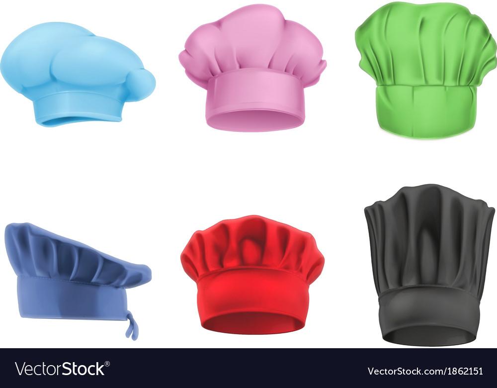 Chef hats multicolored set vector image