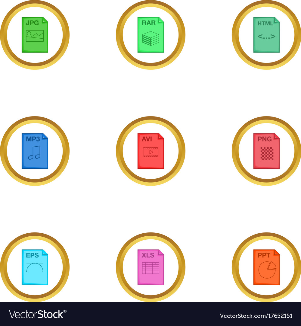 file extension icons set cartoon style royalty free vector