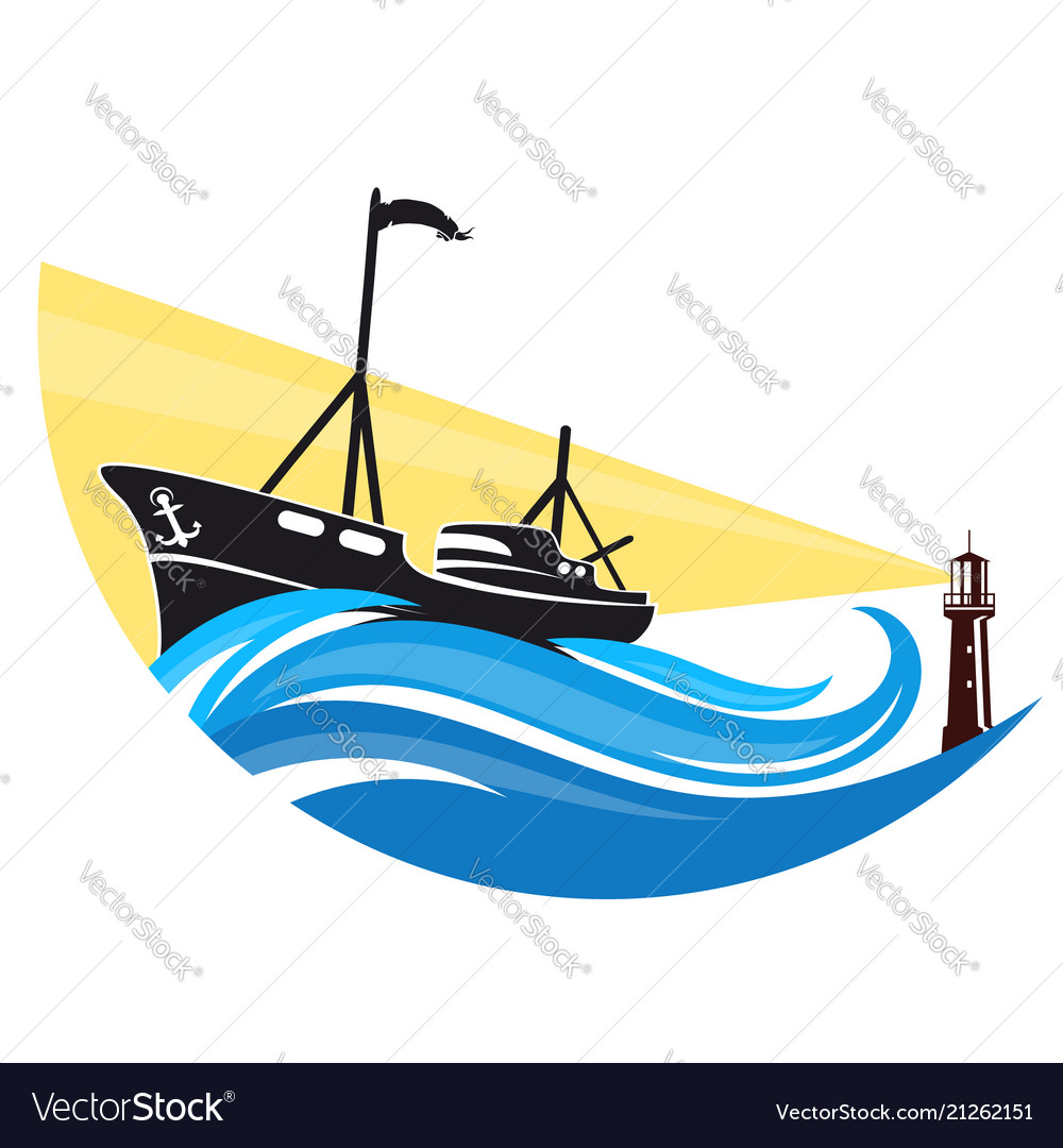 Fishing boat on a wave and lighthouse