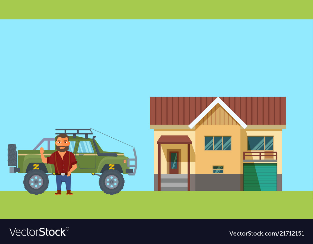 Flat design man with home and truck on background
