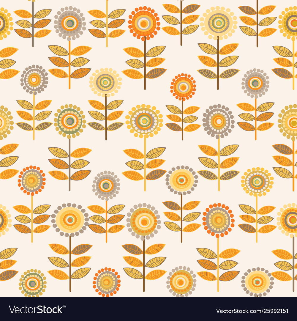 Floral pattern with doodle sunflowers