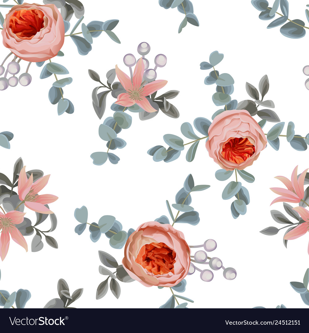 Floral seamless pattern with roses and leaves