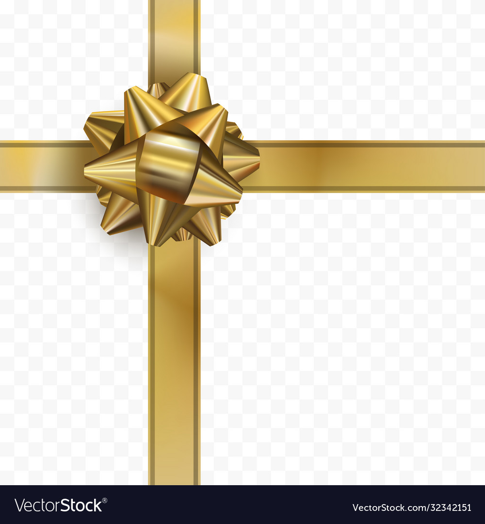 Golden bow with ribbon on transparent background