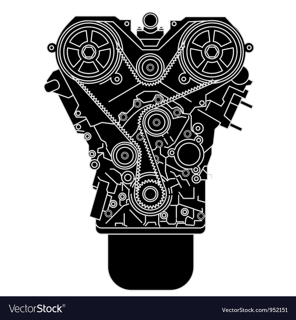 Internal combustion engine as seen from in front vector image