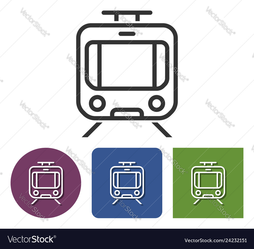 Line icon of tram in different variants