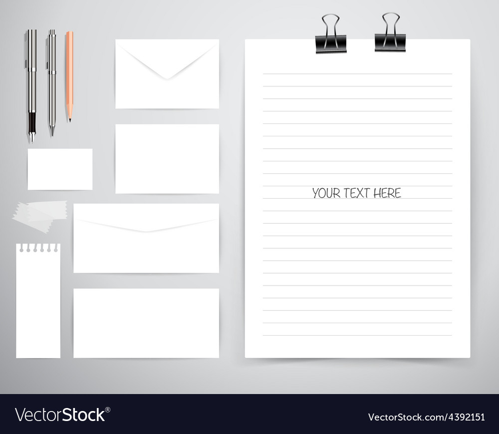 Note book note papers and pen Business working vector image