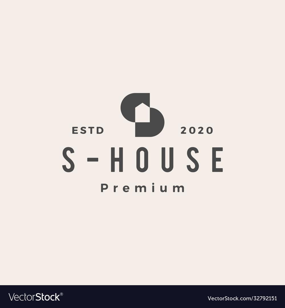 S letter house hipster vintage logo icon