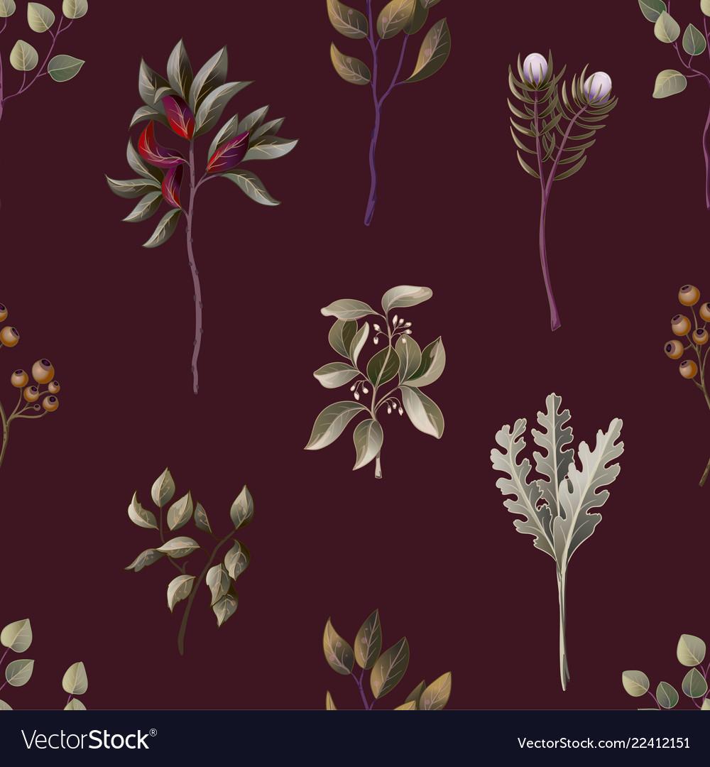 Seamless pattern with eucalyptus magnolia
