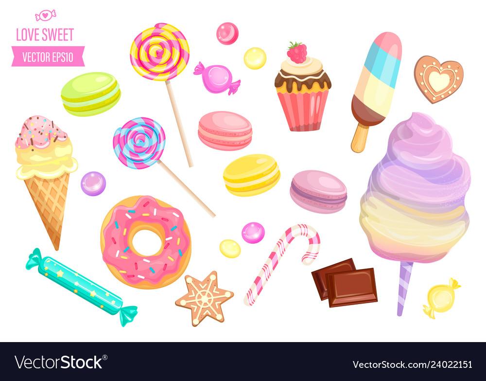 Set isolated sweets on white background
